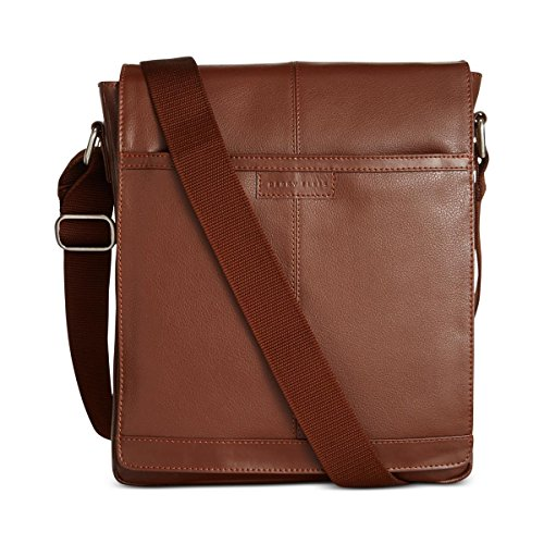 - Perry Ellis North/South Leather Crossbody Bag (One Size, Luggage)