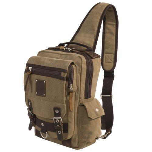 Laurex Urban Style Sling Backpack,Khaki,US