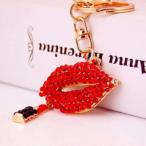 Jzcky Shzrp Red Lip with Lipstick Crystal Rhinestone Keychain Key Chain Sparkling Key Ring Charm Purse Pendant Handbag Bag Decoration Holiday Gift(Red)