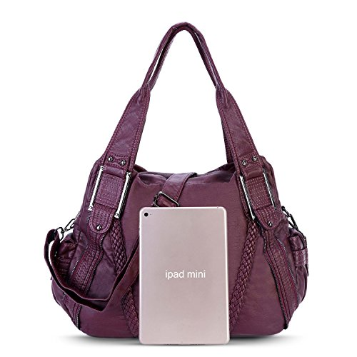Bags Mulberry Washed Purple2 Capacity Ladies Large for Soft PU Women Cross Leather Handbag Body Tote 3 vOq5wXx5Z