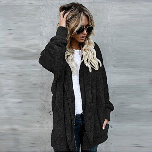Gilet Manteau Fourrure Sensail Femme Cardigan Grande Manteau Veste Chaud Capuche Cardigan Hiver Blouson Taille Long Fausse Noir pZqtznw