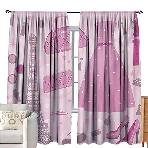bybyhome Heels and DressesSimple curtainParis Fashion Atelier French Boutique Feminine Glamor EiffelCustomized Curtains W108 xL72 Baby Pink Mauve Magenta