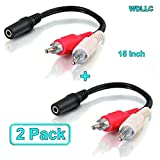 Cable audio Stereo 3.5mm female to 2 RCA male (dual RCA) - RCA to AUX Splitter Y Plug Adapter Converter 15 inch (2 Pack) - WDLLC