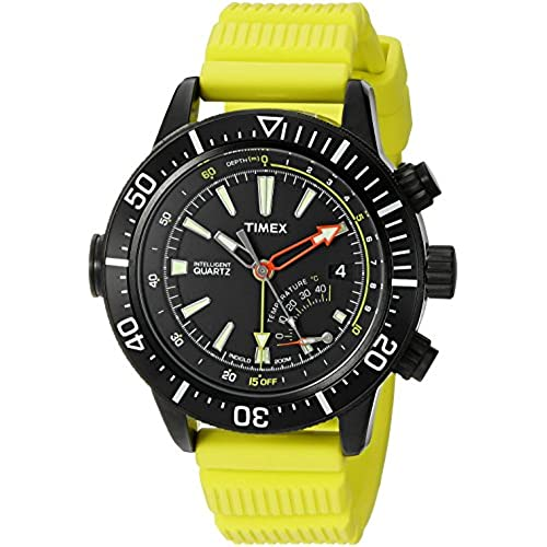 Timex Mens T2n958 Intelligent Quartz Adventure Series Depth Gauge Yellow Resin Strap Watch