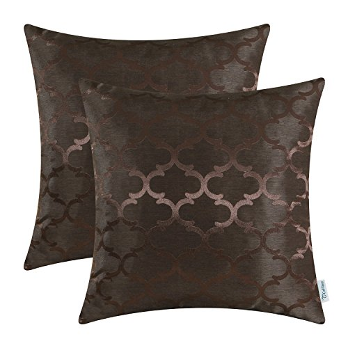 Pack of 2 CaliTime Cushion Covers Throw Pillow Cases Shells Both Sides, Modern Quatrefoil Accent Geometric, 20 X 20 Inches, Coffee (Black And Brown Throw Pillows)