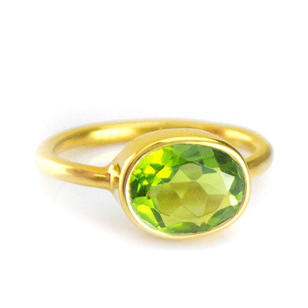 DV Jewels Peridot Oval Bezel Set Ring