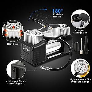 audew luftkompressor luftpumpe auto kompressor reifenpumpe mit hochleistungs doppel zylinder. Black Bedroom Furniture Sets. Home Design Ideas