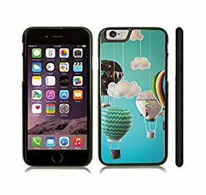 iStar Cases? iPhone 6 Case with Hot Air Balloons, Fabric Miniatures and Clouds against a Blue Backdrop, Photo, Close-up , Snap-on Cover, Hard Carrying Case (Black)