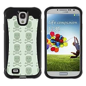 Qstar Arte & diseño Anti-Slip Shockproof TPU Fundas Cover Cubre Case para SAMSUNG Galaxy S4 IV / i9500 / i9515 / i9505G / SGH-i337(Dark Skull)