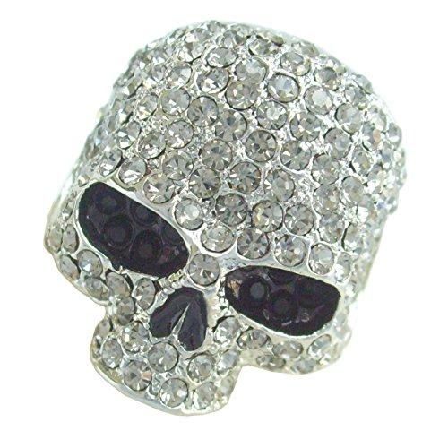 Crystal Sindary Classic Skeleton Cocktail Ring Adjustable Size Austrian Halloween Gothic Skull MCR169 (Silver-Tone - Ring Crystal Skull