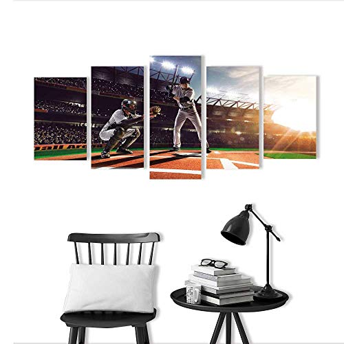 Frameless Paintings 5 Pieces Painting Professional Baseball Players on The Grand Arena to liven up and Energize Any Wall or Room.