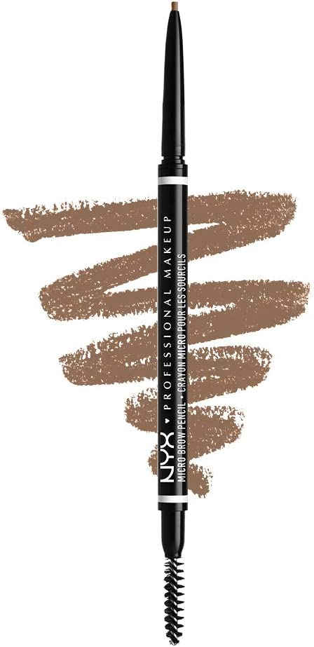 NYX Professional Makeup Lápiz de cejas adecuadas Micro Brow Pencil, Dos lados: cepillo espiral y lápiz de cejas automático, Fórmula vegana, Tono: Taupe