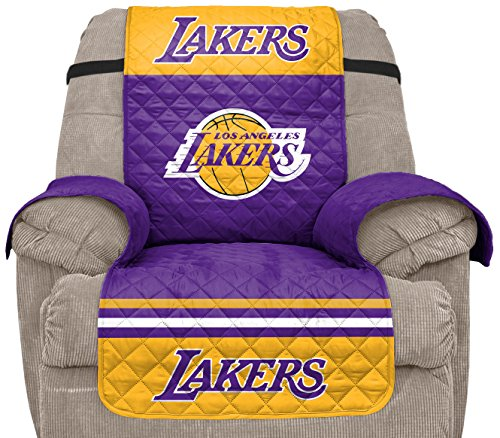 Pegasus Sports NBA Los Angeles Lakers Unisex Nbanba Furniture Protector with Elastic Straps, Gold, - Home Nba Team Recliner