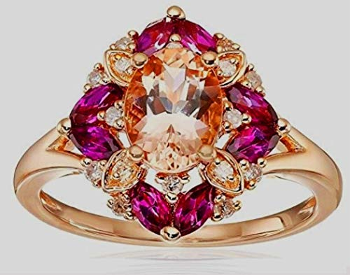 XDLiu Antique Natural Gemstone 2.36CT Morganite Diamond Bridal Wedding...