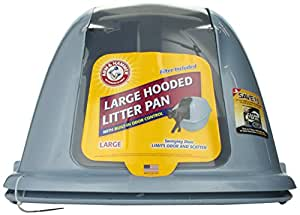 Arm & Hammer Hooded Cat Pan/Litter Box, Large, Pearl Ash Blue