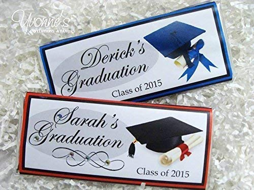 (Graduation Candy Bar Wrappers - Personalized Wrappers for Chocolate Bar Favors- High School, College, Middle School Graduation (SET OF 12) ** Chocolate Not Included **)