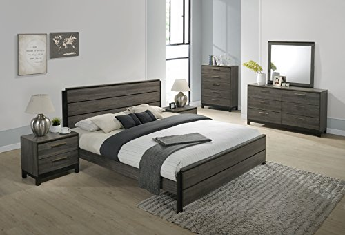 Roundhill Furniture Ioana 187 Antique Grey Finish Wood Bed Room Set, Queen Size Bed, Dresser, Mirror, 2 Night Stands…