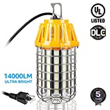 High Bay LED Temporary Work Light Fixture, 5000K Daylight, 100W (750W Equiv.), 14000Lm, IP65 Dust Waterproof, DLC UL listed, Stainless Steel Guard, Plug-n-play, 5 YEARS WARRANTY