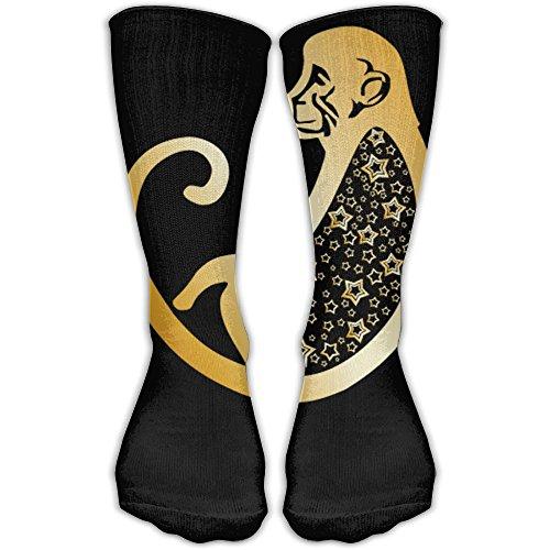 Zodiac Monkey Unisex Performance Crew Socks Protect The Wrist For Cycling Moisture Control Elastic Socks -