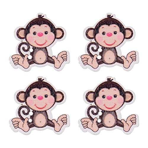Craft Buttons Sewing Buttons - Wooden Buttons in Bulk Buttons for Crafts Button - 50pcs Buttons - Cute Round Monkey - Monkey Button