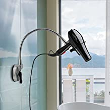 LIANGUS Hair Dryer Stand Holder 360 Degrees Rotation Hands Free Suction Up Hairdryer Holder for Glass Smooth Surface in Bathroom Home