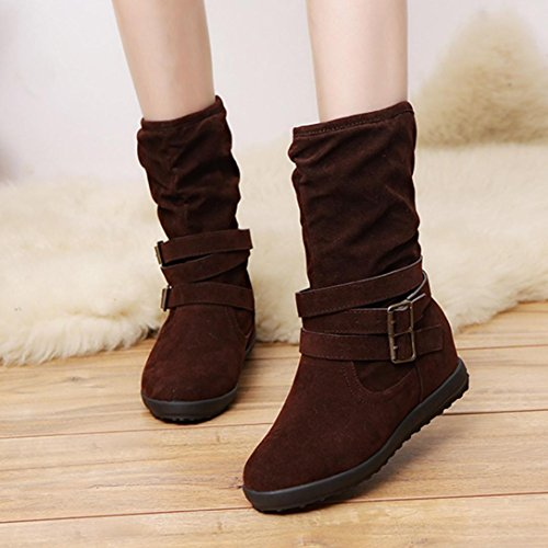 Hatop Women Boots, Womens Low Wedge Buckle Snow Boots Biker Ladies Ankle Trim Flat Ankle Boots Shoes Brown