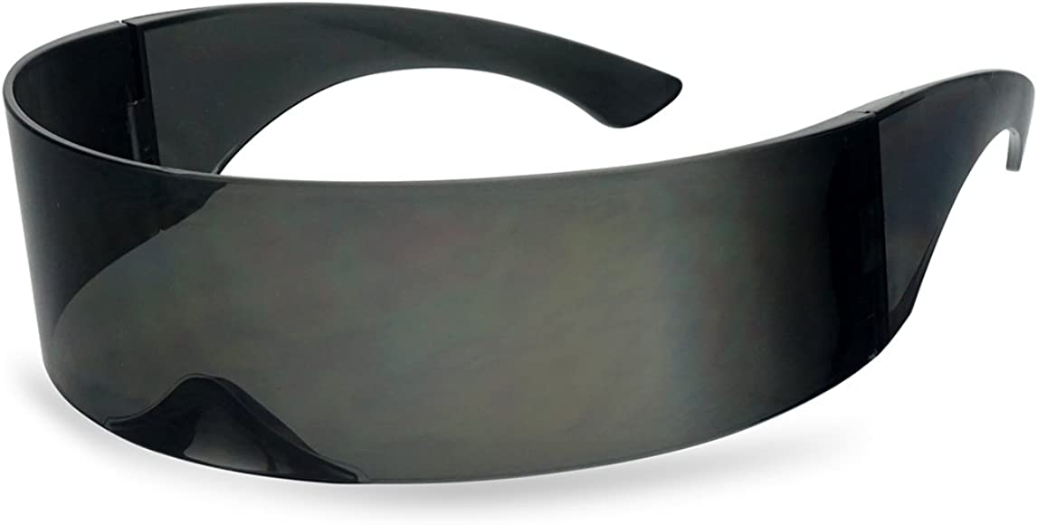 69dbdd448ab74 SunglassUP - Wrapped Around Futuristic Cyclops Mirror Single Lens1 Piece PC  Sunglasses (Black