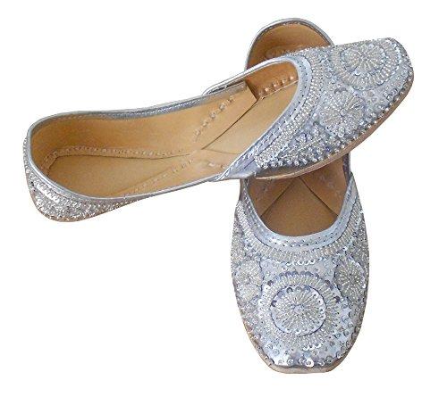 Argent En Indien Pour Groom Creations Femme Séquence De Cuir Kalra Synthétique Avec Travail Traditionnel Chaussures wYB16Wgq