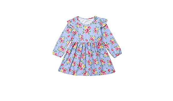 Guyay Newborn Infant Baby Girl Long Sleeve Floral Dress Toddler Ruffle Pleated Midi Dress Pink, 4-5 T