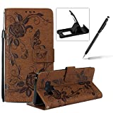 Strap Case for Samsung Galaxy Note 9,Flip Wallet Leather Cover for Samsung Galaxy Note 9,Herzzer Premium Pretty Elegant [Brown Butterfly Flower Design] PU Leather Fold Stand Card Holders Smart Case Cover for Samsung Galaxy Note 9 + 1 x Free Black Cellphone Kickstand + 1 x Free Black Stylus Pen