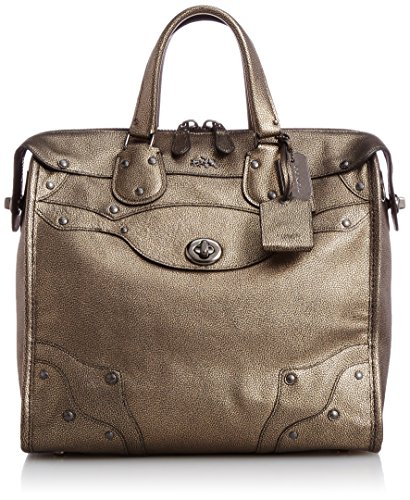 Coach Rhyder 33 Satchel in Metallic Leather Antique Nickel/bras