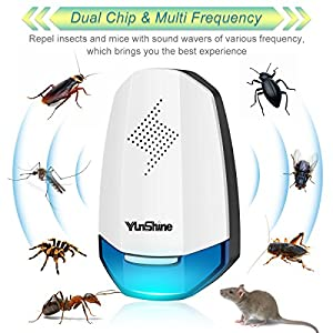 Ultrasonic Pest Repeller, Pest Control Repellent Indoor, Electronic Pest Repellent & Insect Repellent Plug in For Rats, Bed Bugs, Spiders, Mosquitoes, Roaches, Ants, Fleas, Fruit Fly and More (4 Pack)