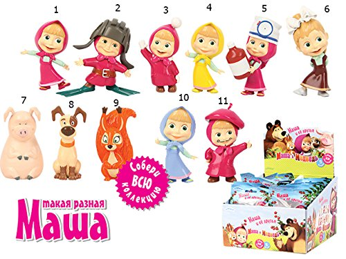 11 psc Masha and the Bear Mini figures toys party favor birthday cupcake toppers cartoon series to children's holiday miniature, surprise baby, party favor Figurine birthday by RusToyShop