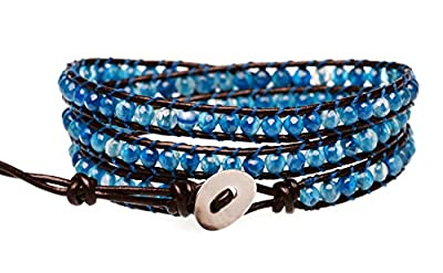 """BLUEYES COLLECTION """"Blue Star"""" Agate Stainless Steel Snap Button Leather Bracelet"""
