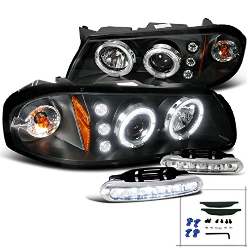 Chevy Impala Projector Halo Headlights+LED Bumper Fog Lamps Black Impala Halo Projector Headlights