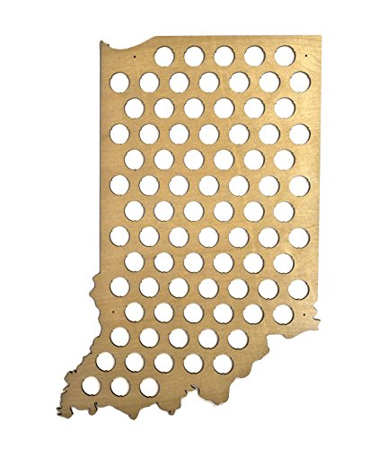 Indiana Beer - All 50 State Beer Cap Maps - Indiana Beer Cap Map IN - Glossy Wood - Skyline Workshop
