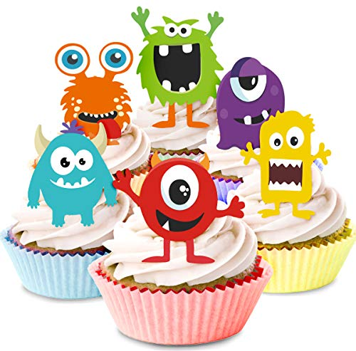 KREATWOW Monster Cupcake Toppers - Little Monster Cupcake Picks Cake Decorations for Kids Birthday Party Baby Shower Supplies 24 -