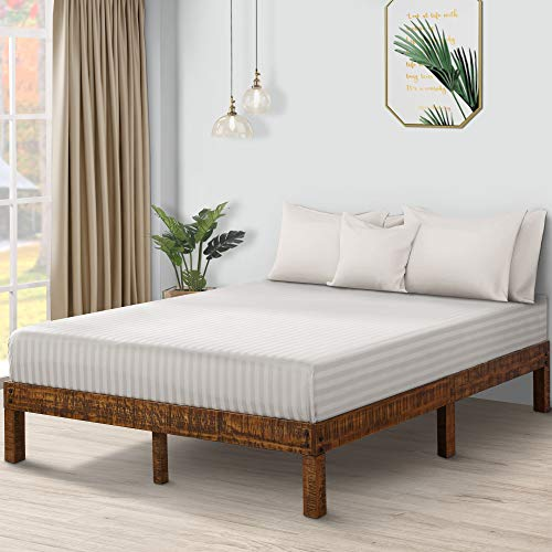 - Olee Sleep VC14SF01F 14 Inch Solid Wood Platform Bed/Natural Finish, Full, Brown