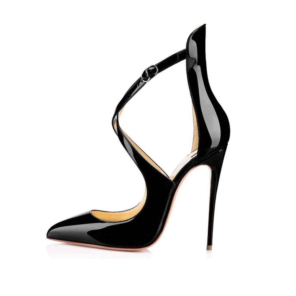 EDEFS Damen Knöchelriemen Pumps High Heels Bequeme Bequeme Bequeme Spitze Zehen Lack Stilettos Schuhe 38da5f