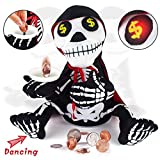 Halloween Decorations Indoor, Dancing Singing Money Begging Ghost with Piggy Bank Halloween Decor Animated for Home House Office, Halloween Party Decoration, LED Eyes and Dancing When Drop Money in