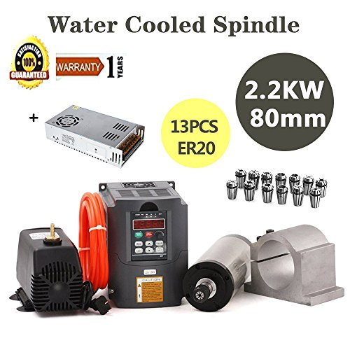 MYSWEETY CNC Spindle Motor Kits, 2.2KW Water Cooled Spindle Motor 2.2KW Inverter + 80MM Clamp Mount +13PCS ER20 Collet + 5M Water Pipe + Water Pump for CNC Router by MYSWEETY