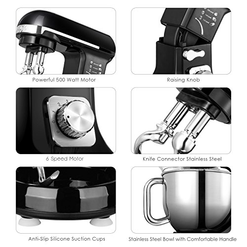Electric Stand Mixer With Removable Head ~ Aicok stand mixer w speed quart stainless steel