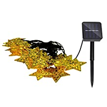 Lightess Christmas Solar Star String Lights Outdoor Decorative Fairy Lighting for Party, Holiday, Patio, Garden, Lawn, 20 Led, Warm White