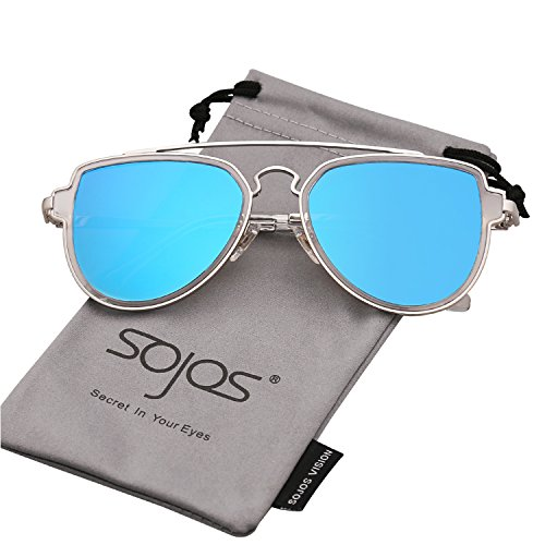 SojoS Fashion Aviator Unisex Sunglasses Flat Mirrored Lens Double Bridge SJ1051 Silver Frame/Blue Mirrored - Sunglasses Colorful Aviator