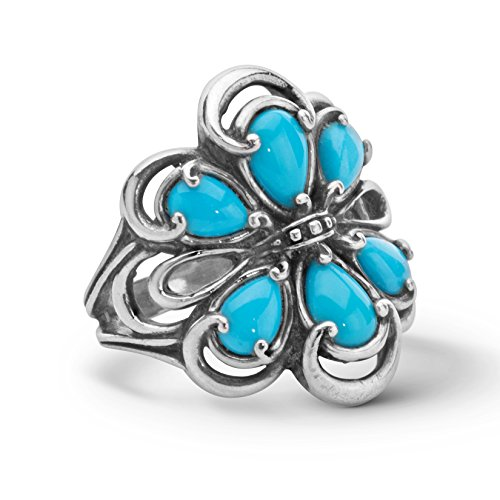 Carolyn Pollack 925 Silver Sleeping Beauty Turquoise Cluster Ring- Size 9
