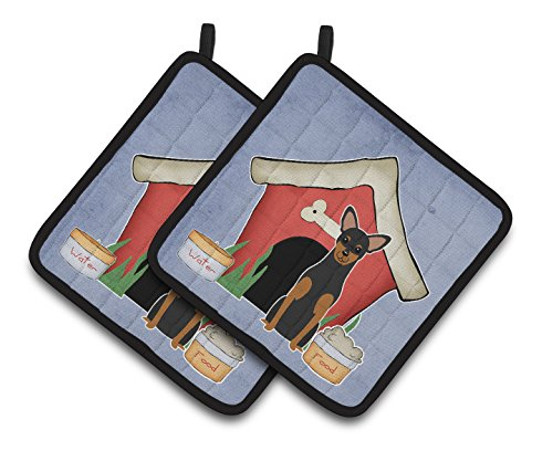 Caroline's Treasures Dog House Collection Manchester Terrier Pair of Pot Holders BB2782PTHD, 7.5HX7.5W, Multicolor