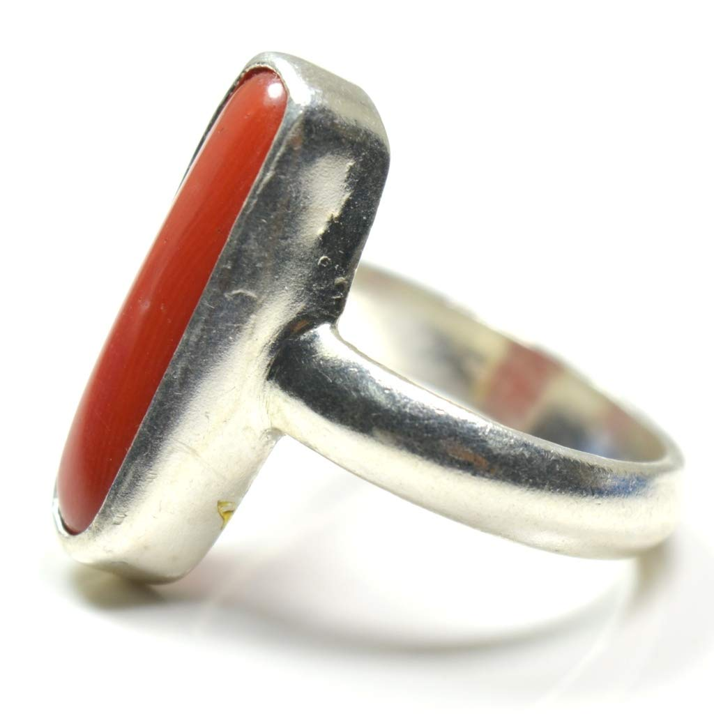 Jewelryonclick Natural Red Coral Sterling Silver Rings for Men 7 Carat Chakra Healing Stone in Size 4-13