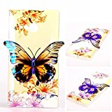 Nokia Lumia 735 N735 TPU Case,Robot Minions Tribe [Lily] 3D Stereo Light Discolor Butterfly Design Flexible Soft TPU Material Cover Case For Nokia Lumia 735 N735