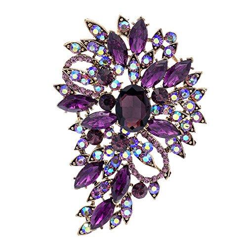 Purple Rhinestone Brooch Women Jewelry Broaches Pins Flower Wedding Bouquet Birthday Gifts 4080 ()