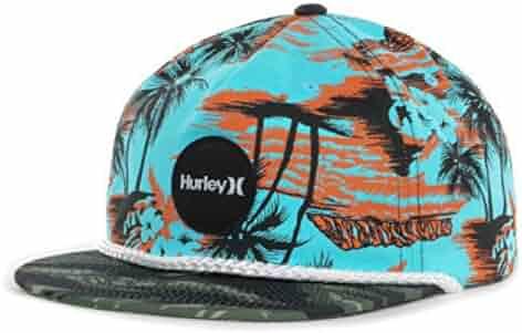 Hurley Beach Brigade Blue Flat Brim Snapback Hat Osfa 7cce9aa57c8e